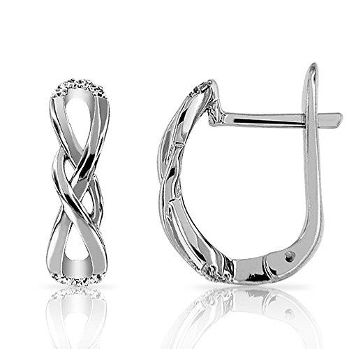 Infinity Ohrringe D–Double Unendlichkeit Silber 925/1000Zirkonia