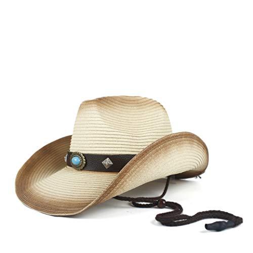 YUQINN 2019 Mode Cowboy Strohhüte for Männer/Frauen Sommer Cowgirl Party Kostüm Crimp Hut Outdoor UV-Schutz Sonnenhut (Farbe : Beige, Größe : 56-58)