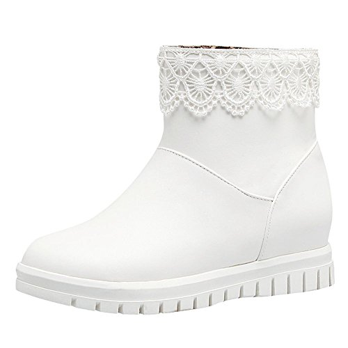 MissSaSa Donna Scarpe col Tacco Basso Dolce Stivali Inverno Bianco