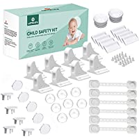 LATTCURE Baby Proofing, 36 Pcs Baby Safety Locks - 8 Magnetic Cupboard Locks+2 Keys, 8 Corner Protectors, 8 Child Safety Cupboard Straps, 10 Socket Covers Protectors/Guards.