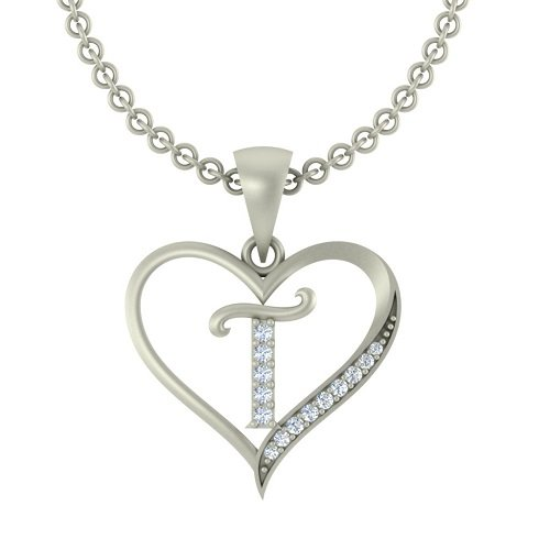 "Kanak Jewels Initial Letter ""T"" In Heart Shaped With Chain Silver Plated Cubic Zirconia Brass Pendant For Everyone"