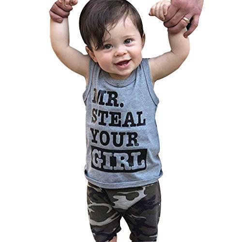 MRURIC❀ Baby Bekleidungssets Strampler Kleinkind Baby Boy Kleidung Weste T-Shirt Tops + Camouflage Shorts Hosen Outfits Set Spielanzug Bodys Jungen Bodysuit Shirt Tops Set Hemd ()