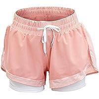Mujer Pantalones cortos Falso Dos Pantalones cortos Pantalones cortos de encaje de moda Pantalones cortos deportivos Pantalones cortos anti-luz Ropa para correr Pantalones cortos de entrenamiento Runn