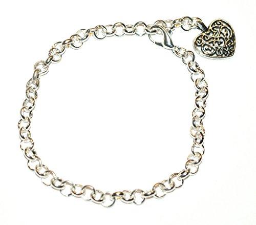 Preisvergleich Produktbild * Kaufen One & Kostenlos One. * versilbert Link Charme Armband mit tibetischen Silber Filigranes Herz Charm (20cm) ~ passt für Thomas Sabo Stil Clip auf Charms