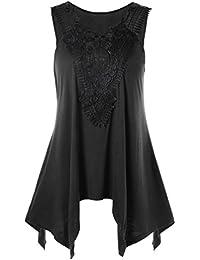 88fc37924d67 Sonnena Gilet Donna Abbigliamento Gilet da Donna, Grande Senza Maniche In  pizzo Irregolare Giacca T-shirt da Donna Senza Maniche con…