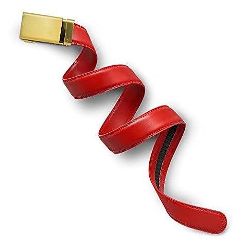 Mission Belt Men's Ratchet Belt - Crimson - Gold Buckle / Red Leather, Extra Large (39 - 42)