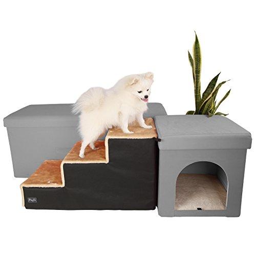 Petsfit Hundetreppe mit 3 Stufen. Einfache Stufen mit Vlies-Bezug - leichte, tragbare Haustier-Treppe mit weichem, waschbareren Bezug - ideale Rampe für ältere oder kleinere Hunde - Beige, 68cm x 35cm x 38cm (Tier Rampe Treppe)
