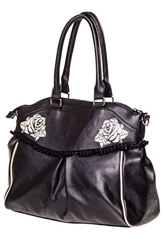 Damen Handtasche mit Handschellen-Details, Rockabilly-Look, Leinwand, rot - rot - Größe: Large Banned