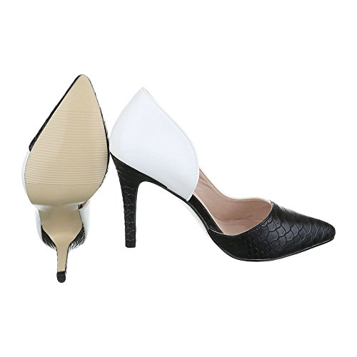 Ital-Design - Scarpe con plateau Donna bianco nero