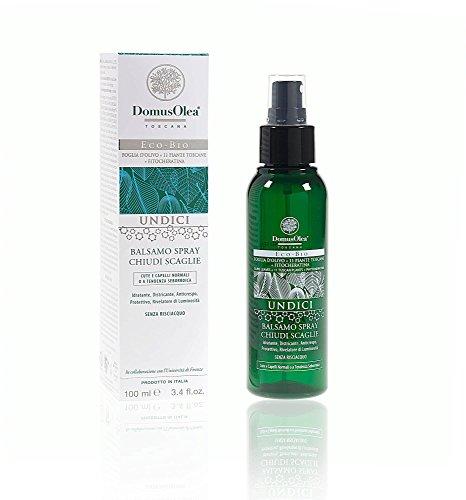 DOMUS OLEA - UNDICI - Après Shampooing Spray Ferme-Flocons - Traitement pour Lisser la Surface des Cheveux - Sans Rinçage - Effet Renforçant - Pour Cheveux Secs, Abîmés et Traités - 100 ml