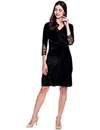 Black Ruched velvet wrap dress with mesh sleeves