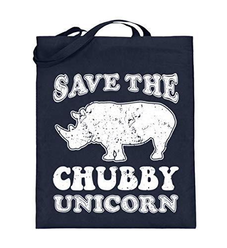 PlimPlom Save The Chubby Unicorn - Nashorn Spruch Tasche Beutel - Jutebeutel (mit langen Henkeln) -38cm-42cm-Deep Blue -