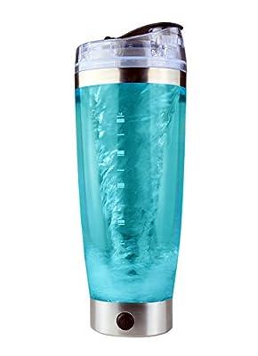 Mitsuru® Elektrischer Protein Shaker Bottle mit Pulverfach | 600ml | BPA frei | 16000 UpM | USB - Wiederaufladbar | Auslaufsicher