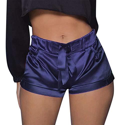 WOZOW Shorts Kurze Hose Damen Solid Einfarbig Casual Lose High Waist Mini Freizeithose Stoffhose Silky Slim Riemchen Party Pyjama Trousers (XL,Marine)