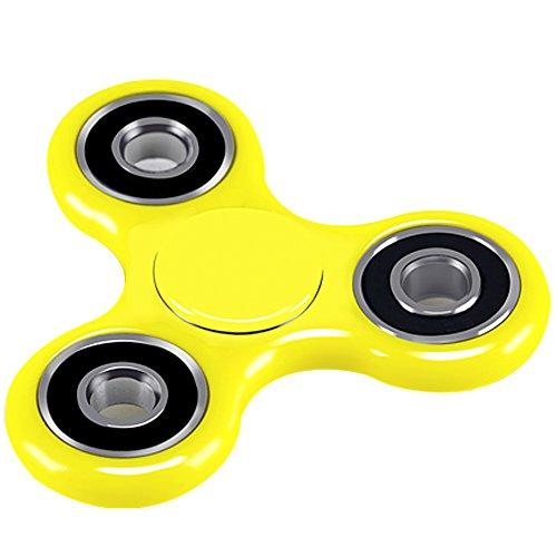 Fidget Spinner, Viyaabang Hand Spinner,Tri-Spinner Fidget Toys für Erwachsene und Kinder -Perfect für Angst.(Gelb)