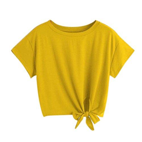 KEERADS T-Shirt Damen Sommer Bauchfrei V-Ausschnitt Stickerei Kurzarm Crop Tops Oberteile Bluse (L, Gelb)