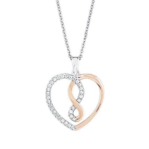 Amor Damen-Kette 45 cm mit Anhänger Herz/Infinity 925 Silber Zirkonia weiß