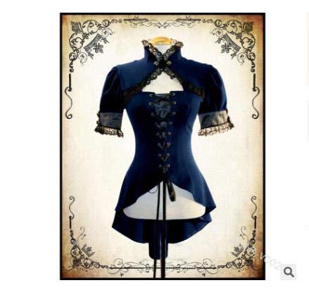 planuuik Steampunk Damenmode Kurzarm Spitze T-Shirt Tops Vintage Victorian Schnürhemd Sexy Slim Fit Bluse Mittelalter LARP Kleidung Hohe Qualität Cosplay Kostüm (Custom Larp Kostüm)