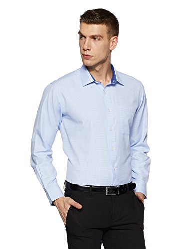Amazon Brand - Symbol Men's Checkered Regular Fit Formal Shirt (SS18-SMFS-114!_Sky!_44)