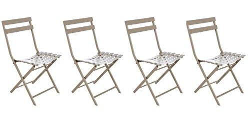 Lot de 4 chaises pliantes coloris taupe clair - Dim: 52 x 42 x 80 cm -PEGANE-