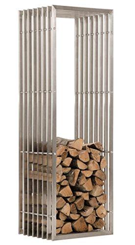 Porte-Bois en acier inoxydable - 150 x 50 x 40 cm - PEGANE -