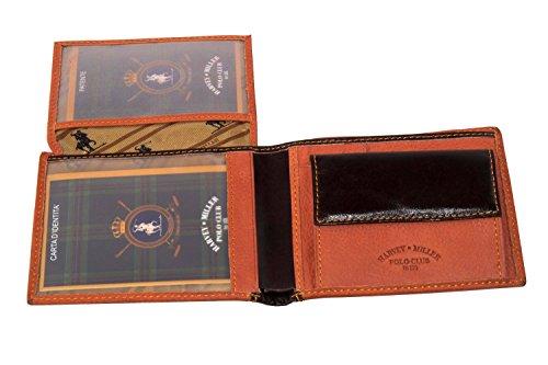 Portafoglio uomo HARVEY MILLER POLO CLUB arancio pelle + patta portamonete A3675