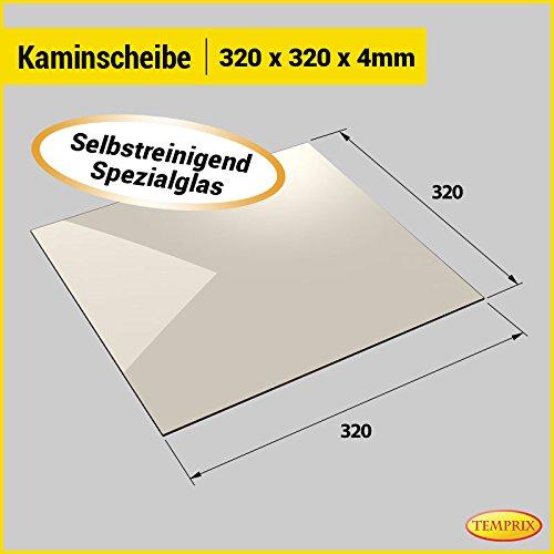 Kaminglas und Ofenglas 320 x 320 x 4 mm | Temperaturbeständig bis 800° C | » Selbstreinigend « | Markenqualität in Erstausrüsterqualität