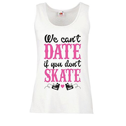 lepni.me Damen Tank-Top Kein Skate, Kein Datum - Coole Zitate Geschenk, Lustige Dating Zitate (X-Large Weiß Mehrfarben)