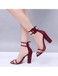 d9c531dc7b FuweiEncore Zapatos de Mujer Sandalias de tacón Alto con Hebilla Hueca ( Color   Vino Rojo