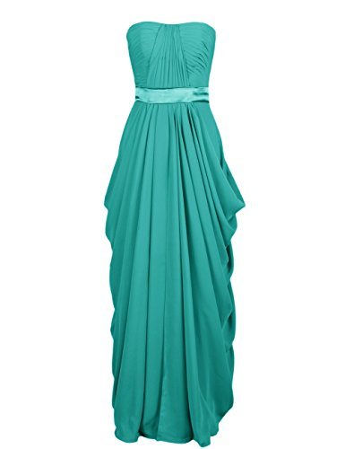 Dressystar Robe femme, Robe de soirée longue, sans manches,au drapé,au drapé, en Mousseline Turquoise