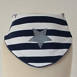 Baby Lätzchen Sabberlatz Halstuch Glitzerstern blau weiß Streifen 0-3 Jahre Jersey/Fleece Mädchen