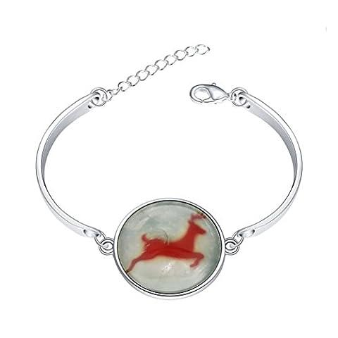 sunifsnow femmes Bon augure Cerf Noël en verre lumineux brillent dans le noir bracelet