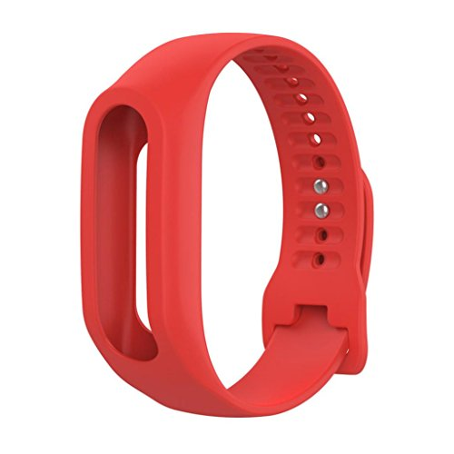 Für TOMTOM TOUCH CARDIO FITNESS TRACKER Transer® Ersatz Silicagel Uhrenarmband Schwarz Blau Grün Pink Orange Lila Rot Gelb Replacement Watch Strap Band: 19cm-24cm (Rot)