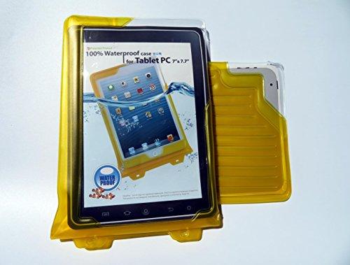 DiCAPac WP-T7 Universelle, wasserdichte Hülle für HP Pro Slate 8 / Pro Tablet 408 G1 in Gelb (Doppel-Klettverschluss, IPX8-Zertifizierung zum Schutz vor Wasser bis 5m Tiefe; integriertes Luftkissen treibt auf dem Wasser & schützt das Gerät; extraklare Polycarbonat-Fotolinse; inklusive Trageriemen)