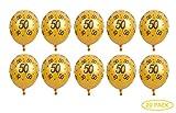 Fontee 20 Piezas 12 Pulgadas Látex 50 Cumpleaños Globos Dorados, 50 Numero Cumpleaños Globos, 50 Aniversario Bodas Oro Decoracion