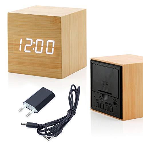 ANHEY LED Wecker Wiederaufladbar Holz Tischuhr Klein Cube Datum/Temperatur Anzeige Digital Wecker Bambus