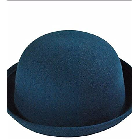 Cúpula de Otoño e Invierno Sombrero de lana de cachemir engastado sólido de color caramelo Moda Topper,Azul marino,One-Size