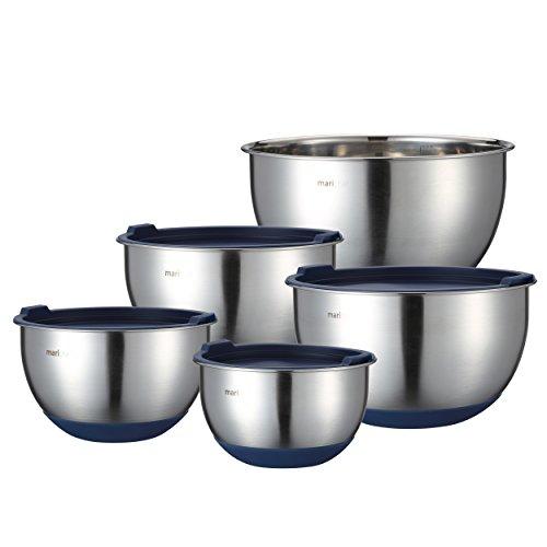 Mari Chef Set 5 Tazones de Mezcla Acero Inoxidable | Ensaladeras 1L-2L-2.5L-3L-4.5L...