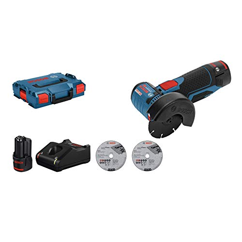 Bosch Professional 12V System Akku Winkelschleifer GWS 12V-76 (3 Trennscheiben, Scheibendurchmesser: 76 mm, 2x 3.0Ah Akkus und Ladegerät, im Karton)