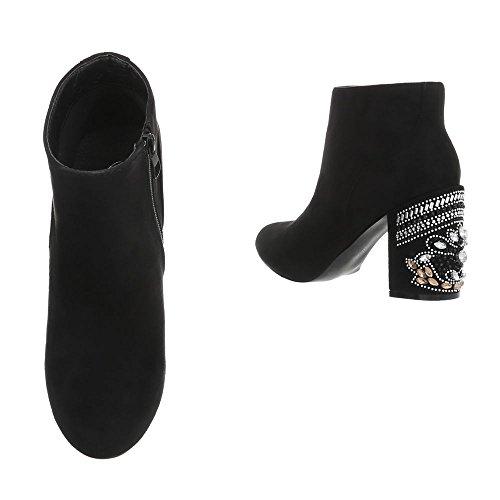 Ital-Design High Heel Stiefeletten Damenschuhe High Heel Stiefeletten Pump High Heels Reißverschluss Stiefeletten Schwarz V-1-1