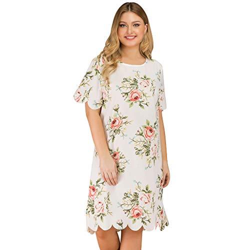 Sommerkleid Damen Cocktailkleid Abendkleid,Kleid mit großem Damenprint Mode lässig Plus Size Print Kurzarm O-Neck Kleid Schlichter lässiger Stil (Abendkleid Informelles)
