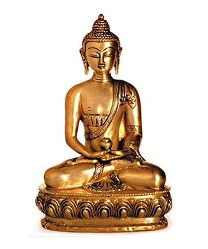 Figura de Buda sentado Amithaba, estatua de latón, altura 20 cm grande, asiáticas diosa Buda en Lotus trono