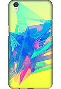 AMEZ designer printed 3d premium high quality back case cover for Oppo F1 Plus (abstract angle line color bright)
