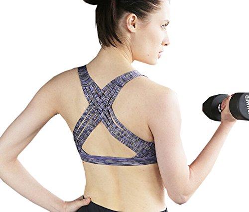 GGTFA Donne Attraversano Strappy Indietro Sport Raccolti di Cime Wirefree Rimovibile Pastiglie Yoga Reggiseno Viola