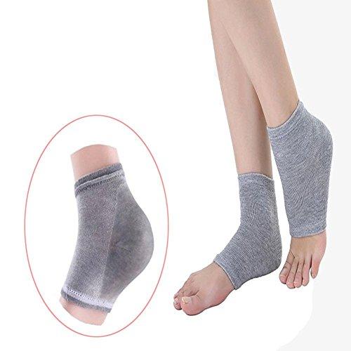 Dr. Pedi gel idratanti tallone calzini protezioni per la pelle secca incrinato piedi Pain Relief (grigio)