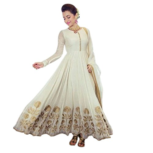8d4b7a7008 Apnisha Women's Georgette Semi-Stitched Anarkali Suit (APLE_BT_White_White)