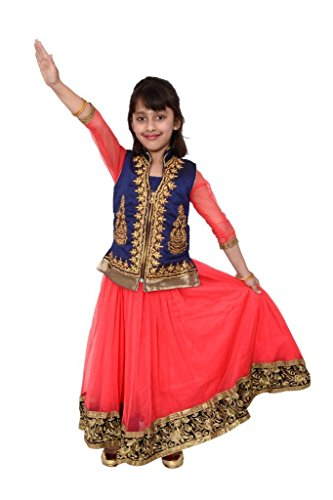 Kids dresses baby clothing stylish party wear Gown with Embroidered Jacket for girls 3-8 years