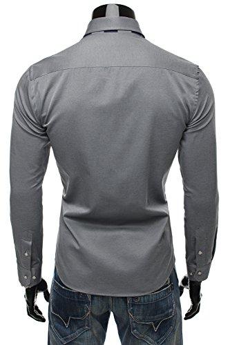 OZONEE Herren Hemd Freizeithemd Businesshemd OZONEE 43 Grau