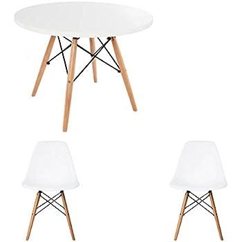 rund wei tisch mit wahl der stuhl farben white - Stuhlfarben
