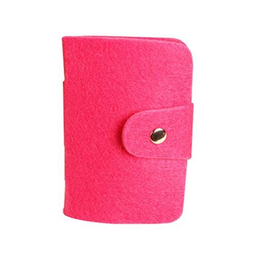 FENICAL Kreditkarte Tasche Wollfilz 24 Card Slot Card Paket Bus Kreditkarte ID Busiess Card Cover Wallet (Rosy)
